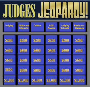Starting Screen for Judges Jeopardy PowerPoint presentation
